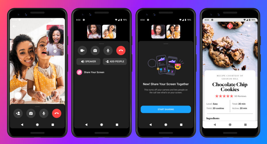 Facebook messenger Expands Screen Sharing to iOS and Android.