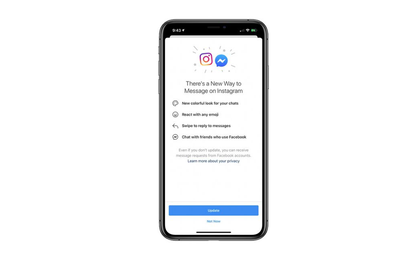 Facebook to fuse Messenger into Instagram for an integrated chat system.